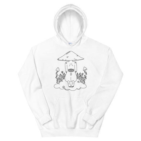 B&W Mushroom Dreamer Unisex Sweatshirt Featuring Original Artwork by Kozmic Art