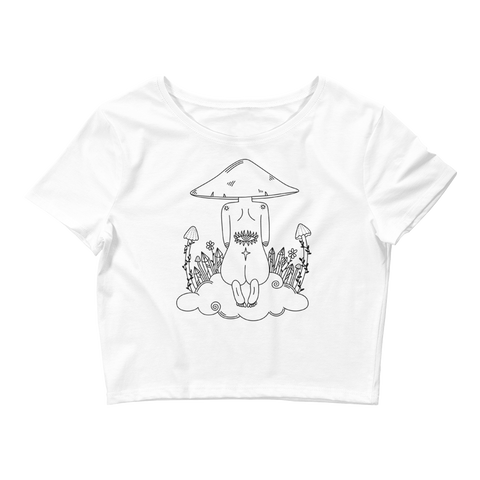 B&W Mushroom Dreamer Crop Top Featuring Original Artwork by Kozmic Art