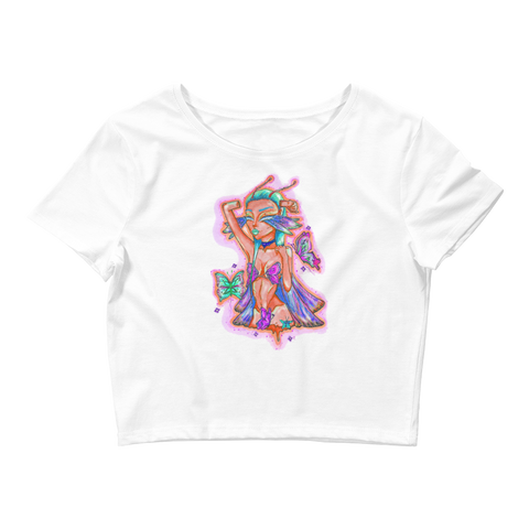 V4 Butterfly Girl Crop Top Featuring Original Artwork By IntoThaVoid