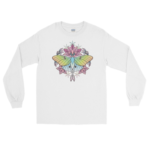 V3 Sacred Lunar Moth Unisex Long Sleeve Shirt Featuring Original Artwork by Abby Muench