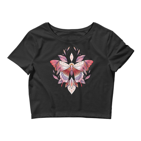 V2 Sacred Butterfly Crop Top (Hemmed Bottom) Featuring Original Artwork By Abby Muench