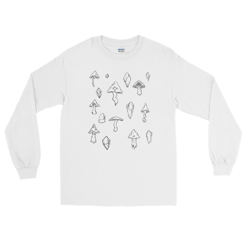 B&W Mushroom Unisex Long Sleeve Shirt Featuring Original Artwork by Intothavoid