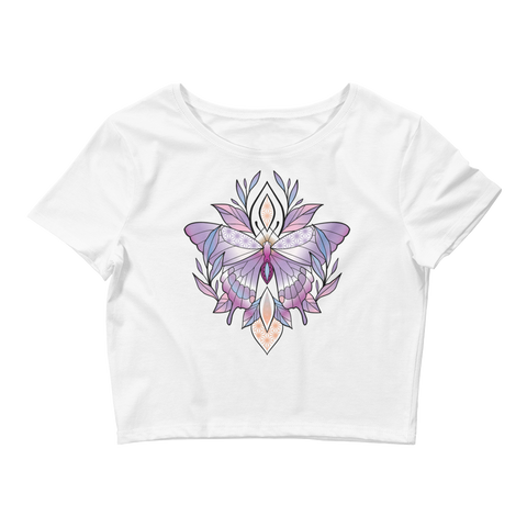 V3 Sacred Butterfly Crop Top (Hemmed Bottom) Featuring Original Artwork By Abby Muench