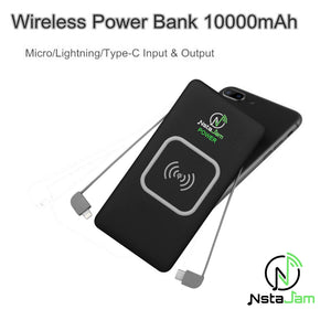 10000mAh Wireless QI Portable Power Bank with BUILT-IN CABLES