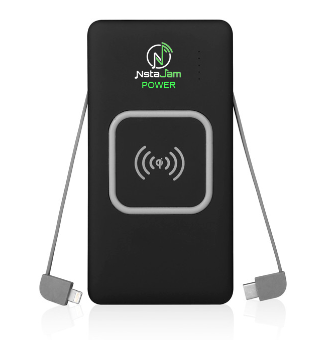 Cell Phone 10000mAh Wireless QI Power Bank with BUILT-IN CABLES