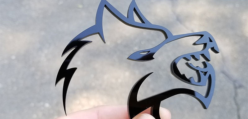 Black Acrylic Wolf Emblems