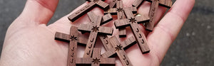 Real Walnut Wood Engraved Crosses