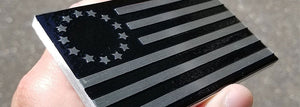 Betsy Ross Black Billet Aluminum Flag Emblem