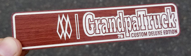Grandpa Truck Wood Custom Emblem