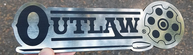 Outlaw Brushed Stainless with Black Engraving Badges