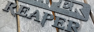 Loose Letters Installed in Mounting Template for Reaper Emblem