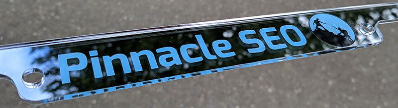 Custom License Plate Frame with Two Color Pinnacle SEO Logo