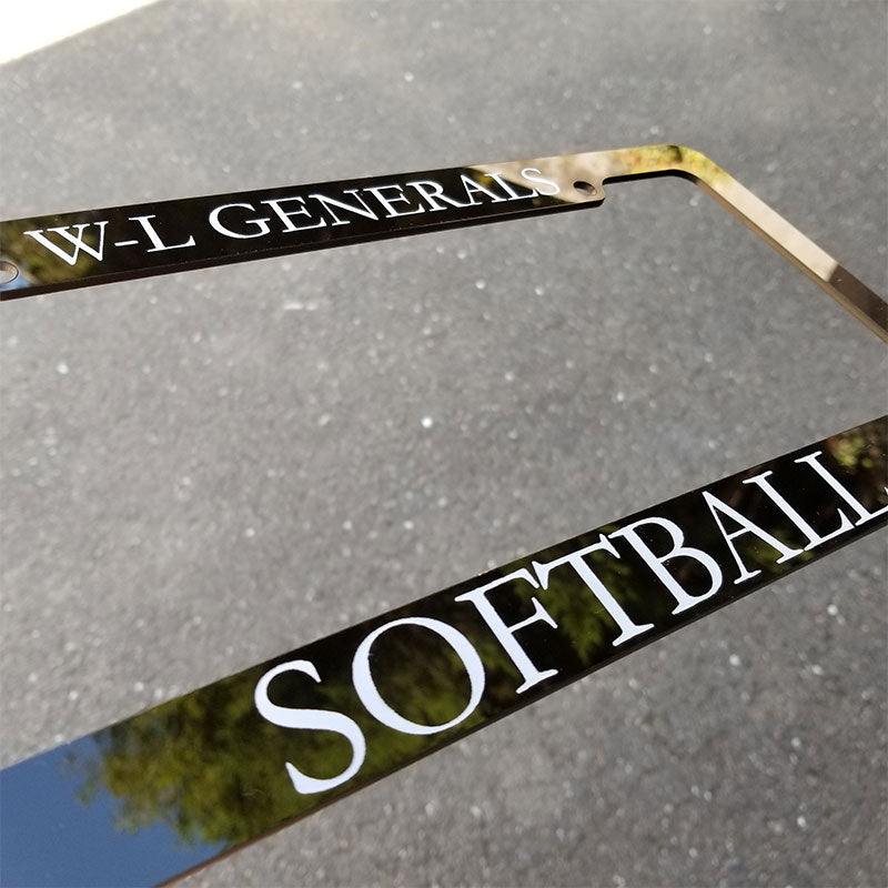 Custom softball license plate frame engraving