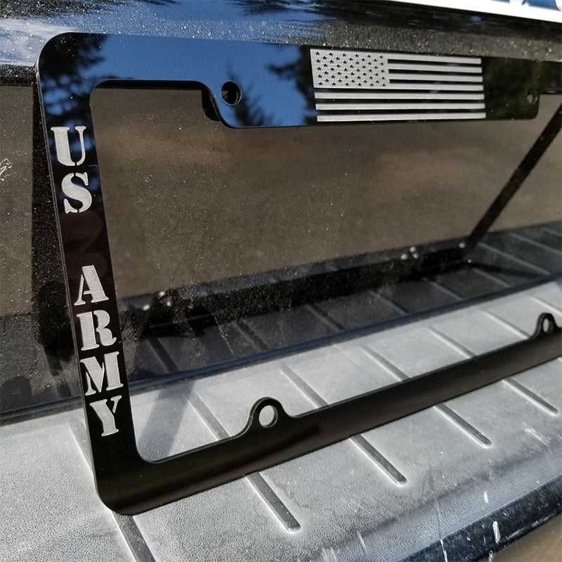 US Army license plate frame installed