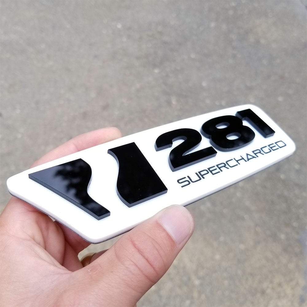 custom 281 car badge