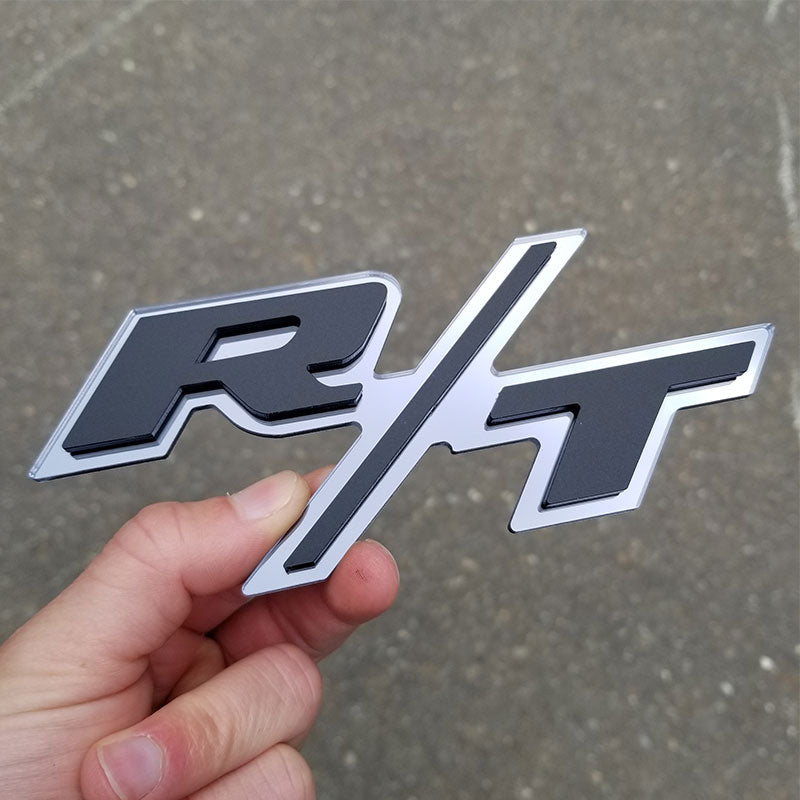 custom r/t emblem matte black and chrome