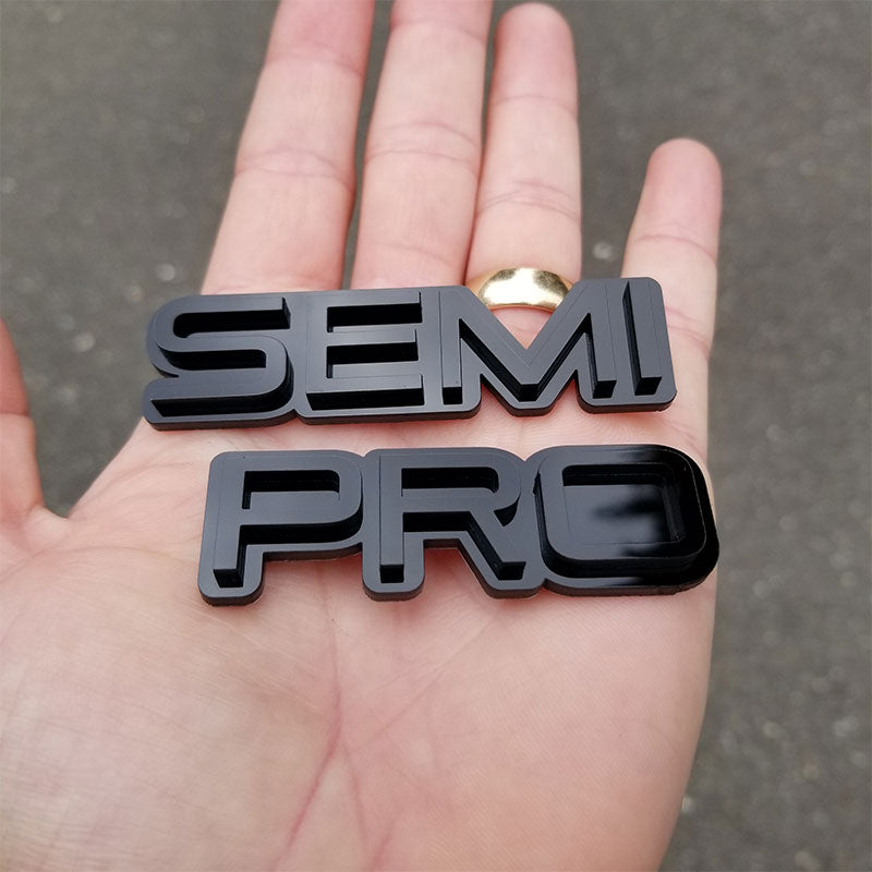 Custom Semi Pro Black on Black Automotive Emblems