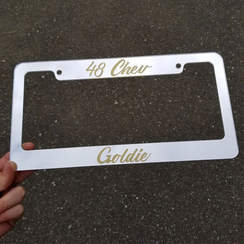 48 Chev Goldie Chrome & Gold License Plate Frame
