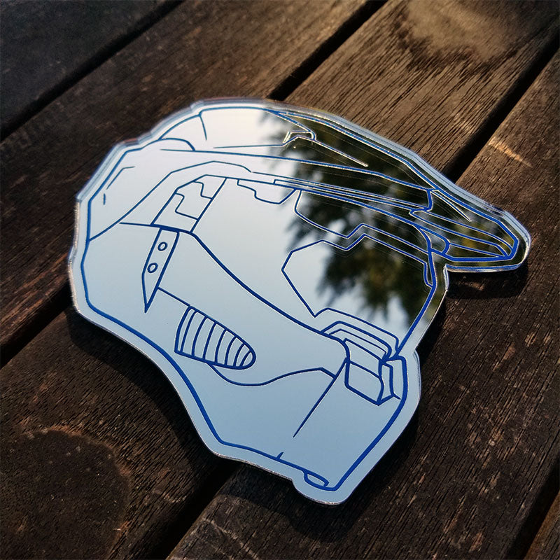 Master Chief Chrome Helmet Emblem