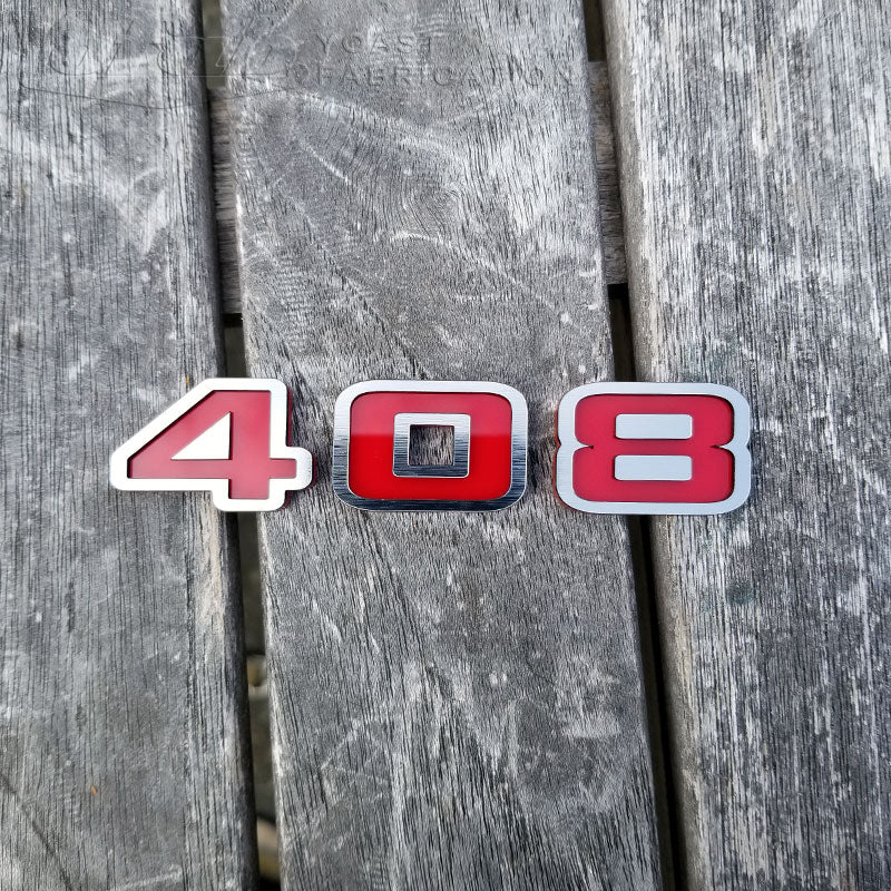 Brushed Stainless & Red 408 Emblem