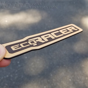 Wood car emblem engraving