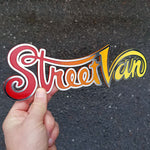 Street Van emblem: stainless with gloss red, orange, yellow paint fill.