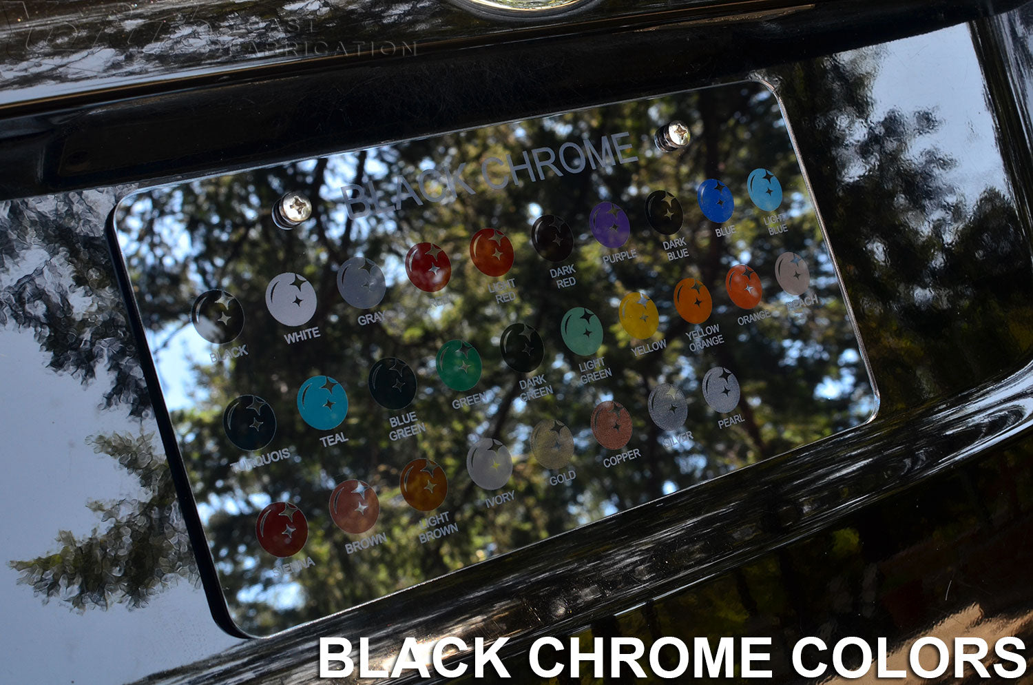 Custom black chrome lincese plate frame colors