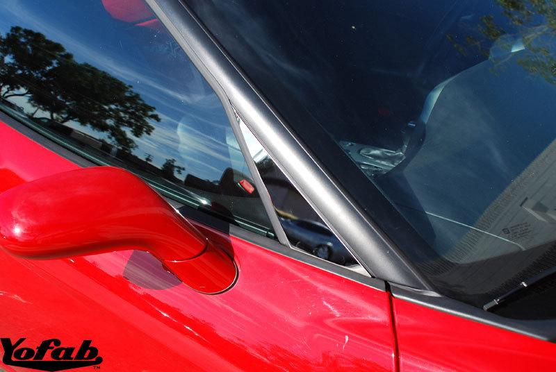 C6 Corvette Polished Stainless Side Mirror Trim Installed