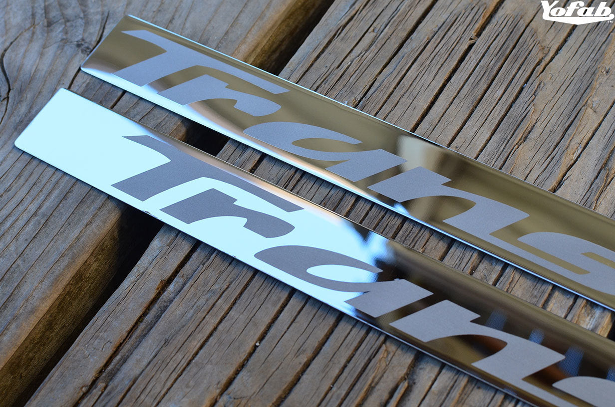 Polished Stainless Fuel Rail Cover Strips with Trans Am Etching Closeup