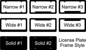 Plain Chrome, Black Chrome or Black License Plate Frame