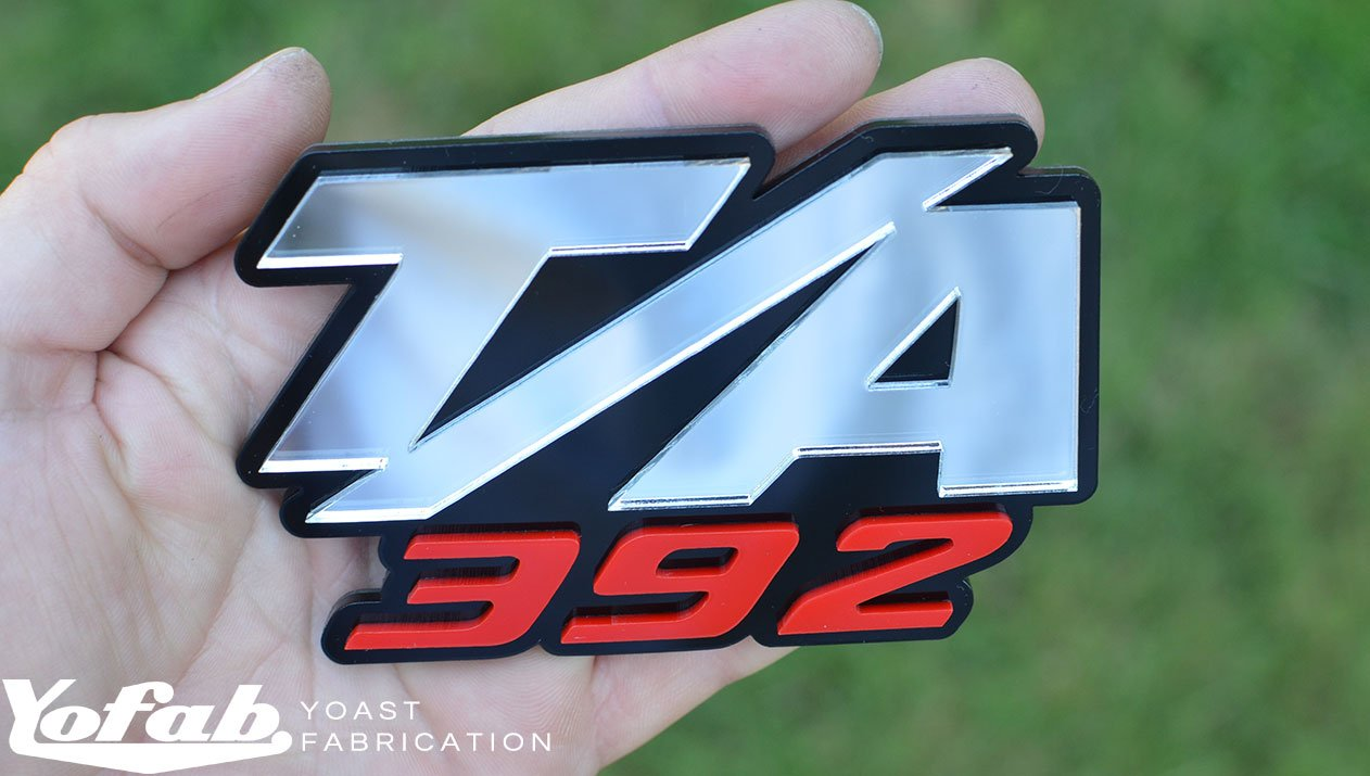 Custom made t a 392 emblem with black chrome and red layers