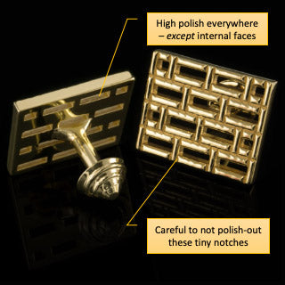 Bars gold cufflinks finishing instructions