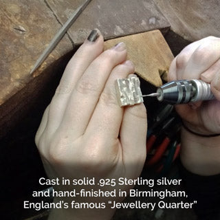 Bricks silver cufflinks hand polishing