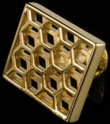 'Honeycomb' 18k gold-plated silver cufflink