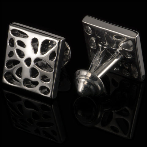 Voronoi cufflinks (black gloss)