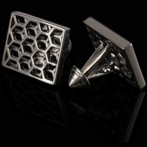 Honeycomb cufflinks (black gloss)
