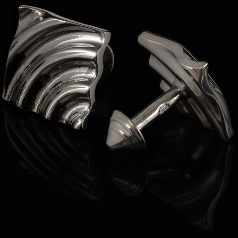 Ripple cufflinks (black gloss)