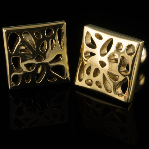 Voronoi cufflinks (18K gold plated)