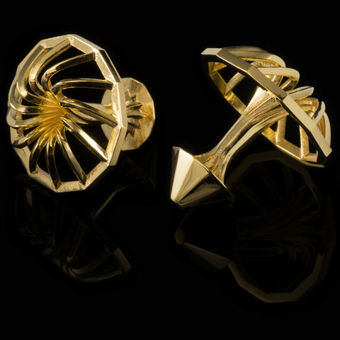 Turbine cufflinks (18K gold plated)