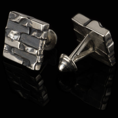 Bricks cufflinks (.925 silver - antiqued)