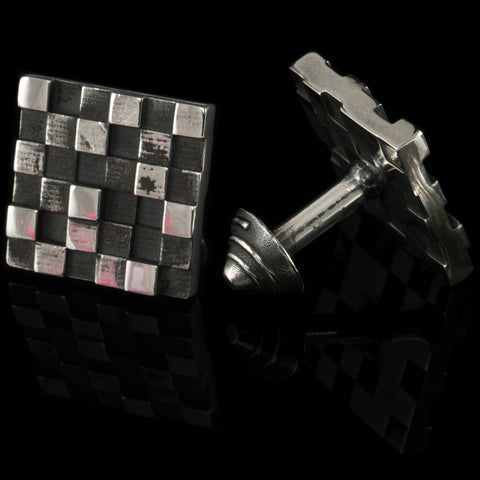 Histogram cufflinks (.925 silver - antiqued)
