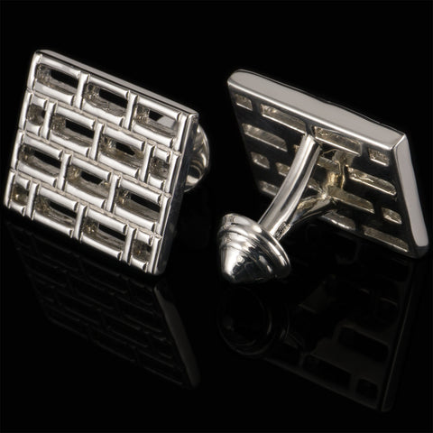 Bars cufflinks (.925 silver - high gloss)
