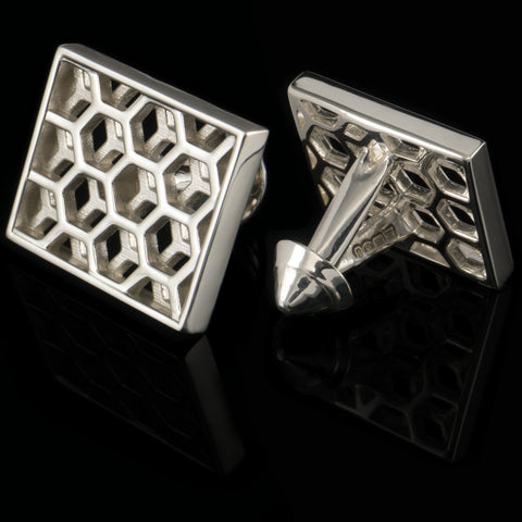 Honeycomb cufflinks (.925 silver - high gloss)