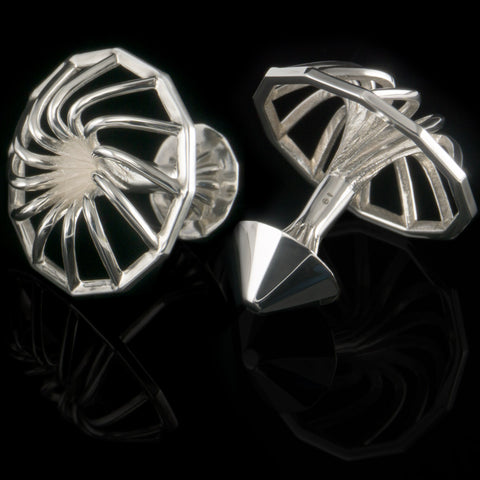Turbine cufflinks (.925 silver - high gloss)