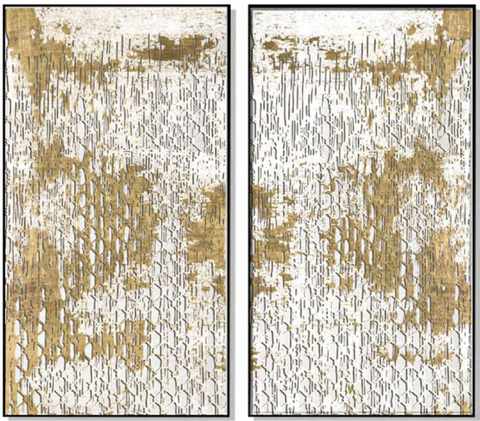 Textured Relief Print with Silk and Gold Foil (Set of 2)