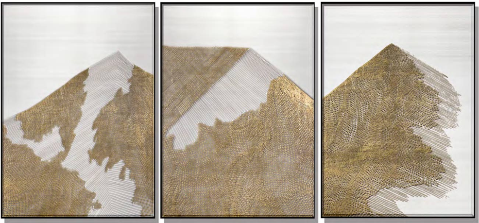 Mountains Silk Relief Print with Gold Foil