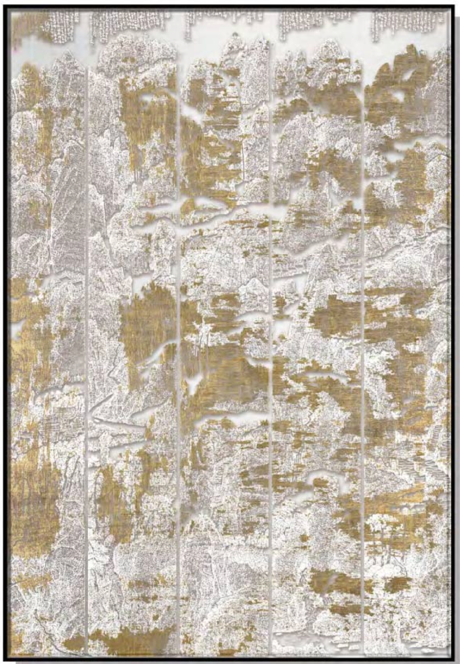 Abstract Silk Relief Print with Gold Foil
