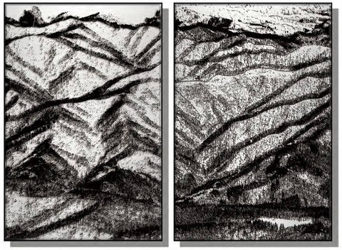 Mountains Silk Relief Print (Set of 2)