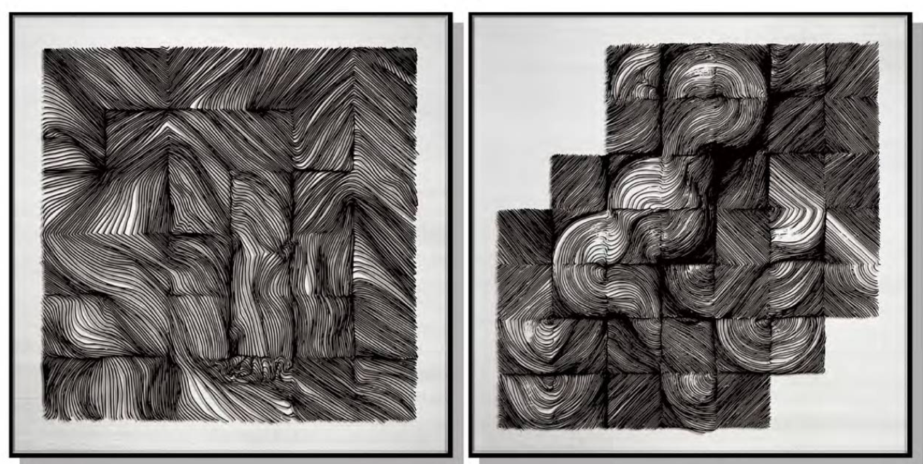 Abstract Squares Silk Relief Print (Set of 2)