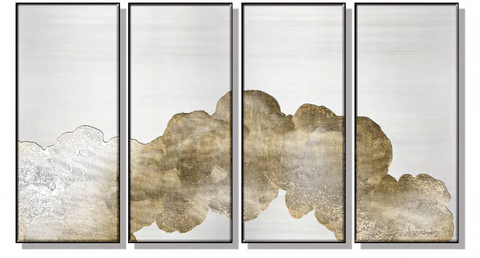 Patterned Cloud Silk Relief Print with Gold Foil (Set of 4)